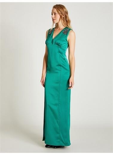 Vekem-Limited Edition Taş Detaylı Abiye Elbise Yeşil